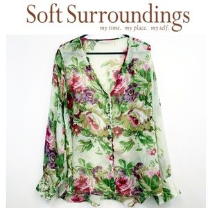Soft Surroundings chiffon green floral button down